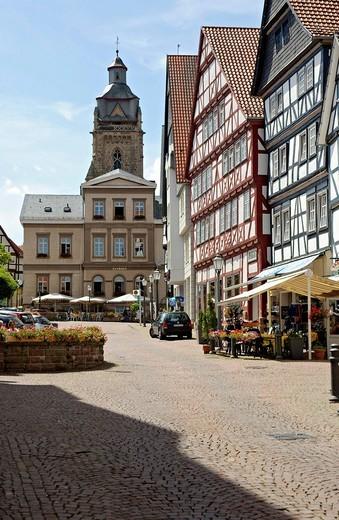 Stock Photo: 1848-188618 Brunnenstrasse, old town, Bad Wildungen, Hesse, Germany, Europe