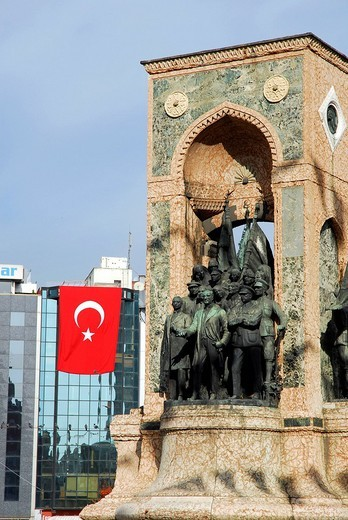 Stock Photo: 1848-188645 Ataturk monument and national flag at the annual festival of the Republic on October 29th, Taksim Square, Taksim Cumhuriyet Abidesi, Istanbul, Turkey