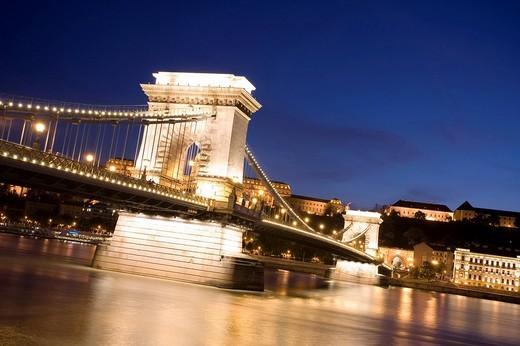 Stock Photo: 1848-188708 Chain Bridge and Danube river at night, Budapest, Hungary, Eastern Europe