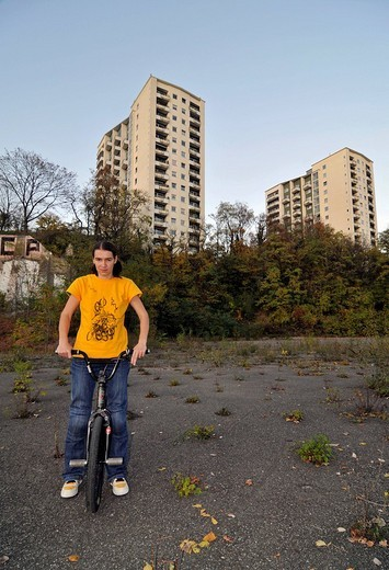 Stock Photo: 1848-18886 Monika Hinz, BMX flatland biker in Stuttgart, Baden_Wuerttemberg, Germany, Europe