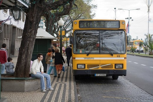 Busses in Funchal, Portugal, Madeira : Stock Photo