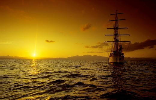 Three_mast sailing ship Amorina, Red Sea : Stock Photo
