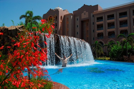 Swimming pool, Emirates Palace Hotel, Abu Dhabi, United Arab Emirates, Asia : Stock Photo