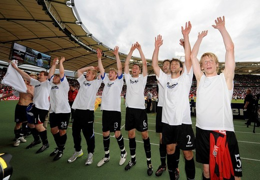 Stock Photo: 1848-189640 Arminia Bielefeld celebrating staying up with a wave to the fans