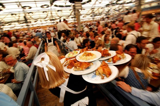 Waitress, beer tent, Wies´n, October fest, Munich, Bavaria, Germany, Europe : Stock Photo