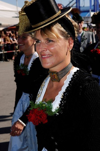Woman wearing a traditional costume in a procession, Wies´n, Oktoberfest, Munich, Bavaria, Germany, Europe : Stock Photo