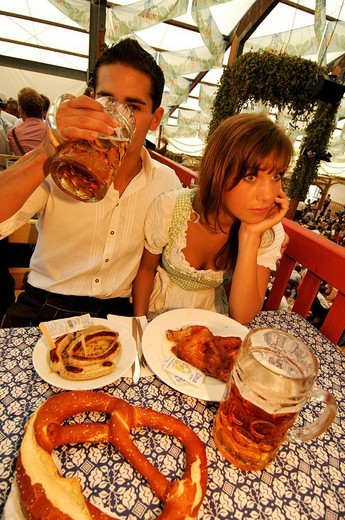 Stock Photo: 1848-189853 Oktoberfest Beer Festival, Wies´n, couple in a beer tent, Munich, Bavaria, Germany, Europe
