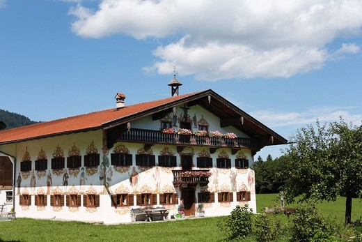 Jodlbauer, historic farmhouse with Lueftlmalerei, wall_paintings, by Johann Baptist Poeheim, 1786, in Hagnberg, Fischbachau municipality, Upper Bavaria, Bavaria, Germany, Europe : Stock Photo