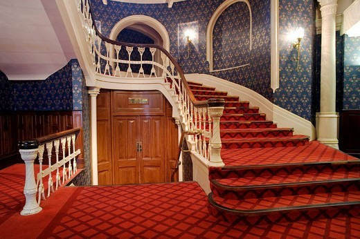 Staircase in an old hotel in Plymouth, Cornwall, Great Britain, Europe : Stock Photo