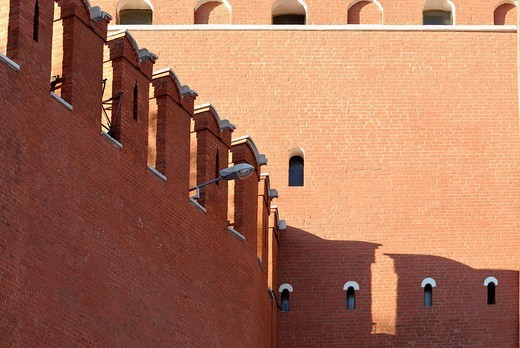 Kremlin, red brick wall, Moscow, Russia : Stock Photo