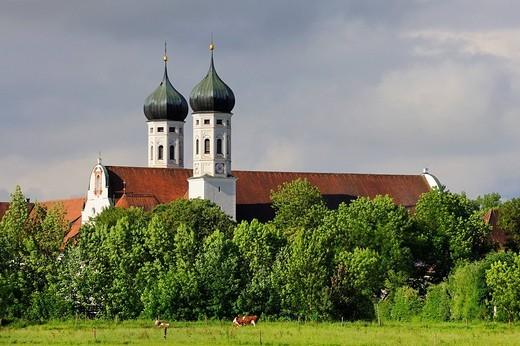 Kloster Benediktbeuern monastery, district of Bad Toelz_Wolfratshausen, Bavaria, Germany, Europe : Stock Photo