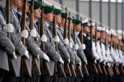 Guard of the Bundeswehr German army exercises at the Ceremonial oath of the Bundeswehr German army in front of the Paul Loebe Haus building, Berlin, Germany, Europe : Stock Photo