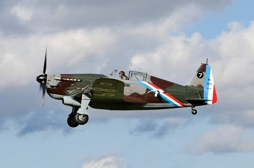 Stock Photo: 1848-190594 French fighter aircraft Morane_Saulnier D_3801 J_143, Europe´s largest meeting of vintage planes at Hahnweide, Kirchheim_Teck, Baden_Wuerttemberg, Germany, Europe