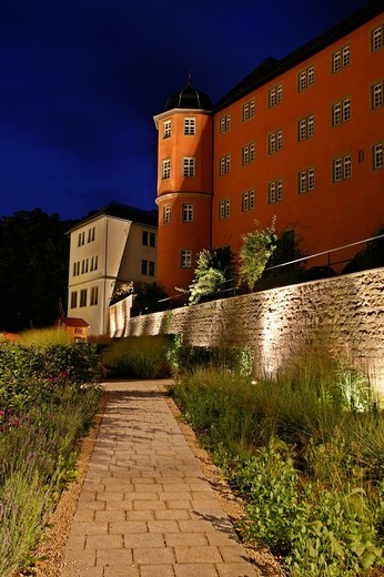 Stock Photo: 1848-190600 Schloss Kuenzelsau Castle at dusk, location of a boarding school, Kuenzelsau, Hohenlohe district, Baden_Wuerttemberg, Germany, Europe