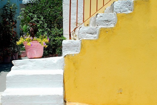 Stairs with flower pot, Fiscardo, Kefalonia, Ionian Islands, Greece : Stock Photo