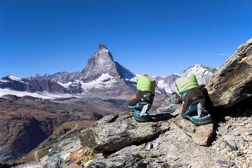 Broken shoes in front of the Matterhorn, Zermatt, canton Valais, Switzerland : Stock Photo