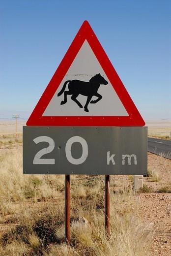 Road sign, beware of horses, horse crossing, near Garub, Namibia, Africa : Stock Photo