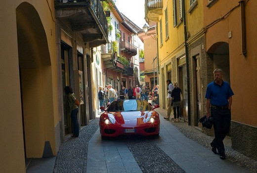 Ferrari in the oldest part of the town of Bellagio, Lake Como, Italy, Europe : Stock Photo