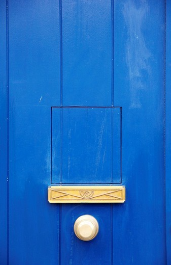 Stock Photo: 1848-192098 Old blue door with yellow letterbox, Seville, Andalusia, Spain, Europe