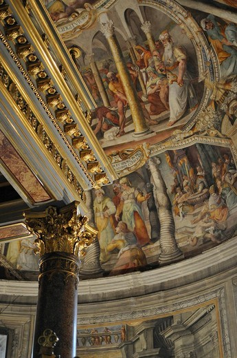 Ceiling and wall painting behind the altar of the Church San Pietro in Vincoli, Historic City, Rome, Italy : Stock Photo