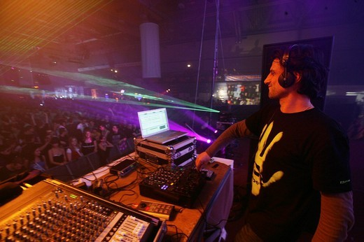 DJ Marko Nastic, Techno_Rave Winterworld 2009 at the Sporthalle, Sports Hall, Oberwerth in Koblenz, Rhineland_Palatinate, Germany, Europe : Stock Photo