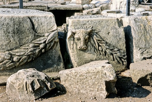 Relief on marble blocks at Caesar´s temple, Roman Forum, Rome, Lazio, Italy, Europe : Stock Photo