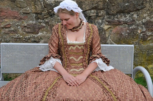 Life in the Baroque period of the 18th Century, girl in dress Robe a la Francaise with headdress, Schiller Jahrhundertfest century festival, Marbach am Neckar, Baden_Wuerttemberg, Germany, Europe : Stock Photo