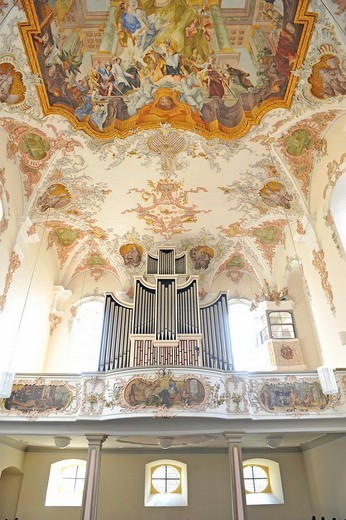 Interior with organ and shot of the ceiling fresco in the nave, Augustinuskirche St. Augustine Lutheran church, Schwaebisch Gmuend, Baden_Wuerttemberg, Germany, Europe : Stock Photo