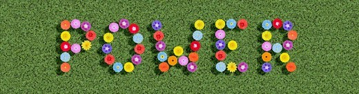 Stock Photo: 1848-192693 Symbol for flower power written with flowers