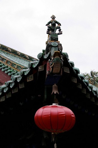 Stock Photo: 1848-193078 Roof figure, wooden figure, Shaolin convent, Henan, China