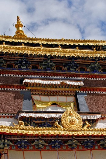 Facade, golden roof, window, Palcho Monastery or Pelkor chode or Shekar, Gyantse, Tibet : Stock Photo