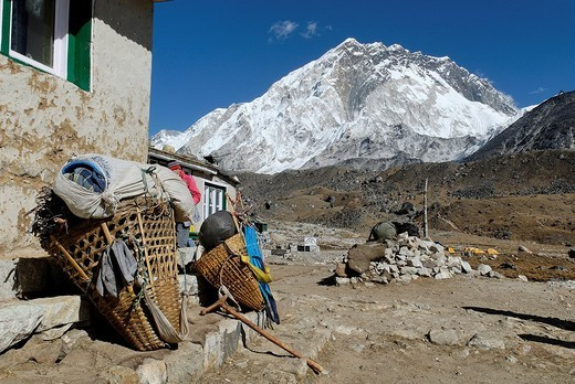 Sherpa village Lobuche with Nuptse 7861, Sagarmatha National Park, Khumbu Himal, Nepal : Stock Photo