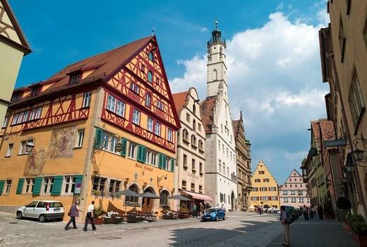 Stock Photo: 1848-19344 Shops, restaurants, half_timbered houses, Herrngasse street, Rothenburg ob der Tauber, Bavaria, Germany, Europe