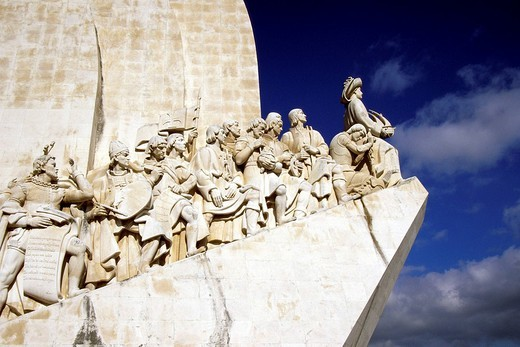 Padrao dos Descobrimentos, monument to discoverers, sculpture with significant figures of the Portuguese seafaring at the riverside of Tejo, Belem, Lisbon, Portugal, Europe : Stock Photo