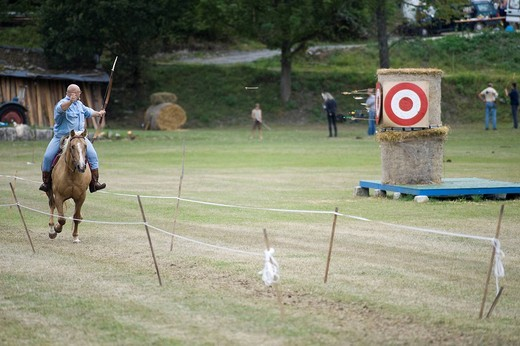 Stock Photo: 1848-194604 Open Eocha European championship 09, mounted archery, with participants from all over the world, a participant in the Hungarian competition variant fires an arrow back over the shoulder towards the target at full gallop, Trossenfurt, Franconia, Bavaria, G