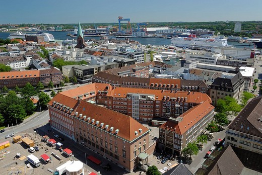 View over the city of Kiel towards the inner fjord with a cruise ship and a Stena Line ferry, Schleswig_Holstein, Germany, Europe : Stock Photo