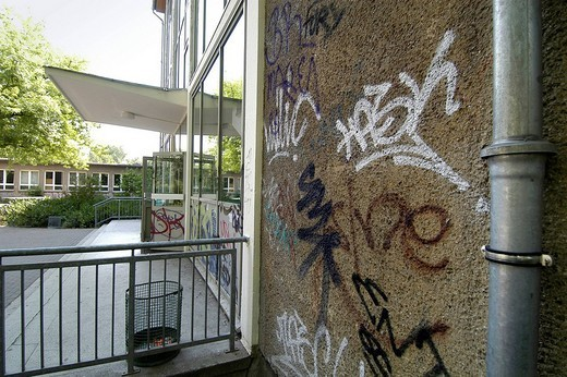 Stock Photo: 1848-194745 Graffiti in a school