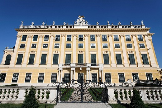 Castle Schoenbrunn, left wing, view from the castle grounds, Vienna, Austria : Stock Photo