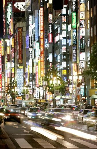 Stock Photo: 1848-195211 Neon signs, entertainment and shopping area at Shinjuku Subnade Street, Shinjuku district, Tokyo, Japan, Asia