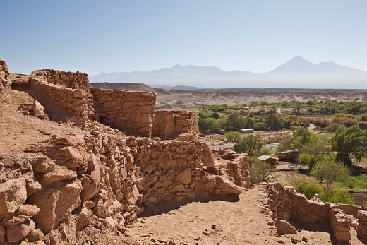 Pukara de Quitor, originally an Atacameños fortress later taken over by the Incas, San Pedro de Atacama, Región de Antofagasta, Chile, South America : Stock Photo