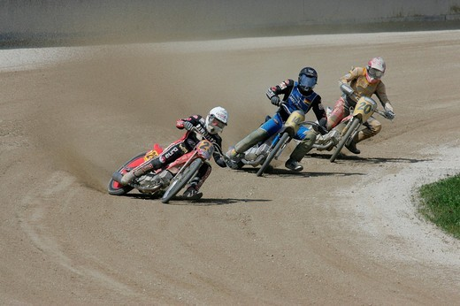 Stock Photo: 1848-195386 Short track race, international motorcycle race on a dirt track speedway in Muehldorf am Inn, Upper Bavaria, Bavaria, Germany, Europe