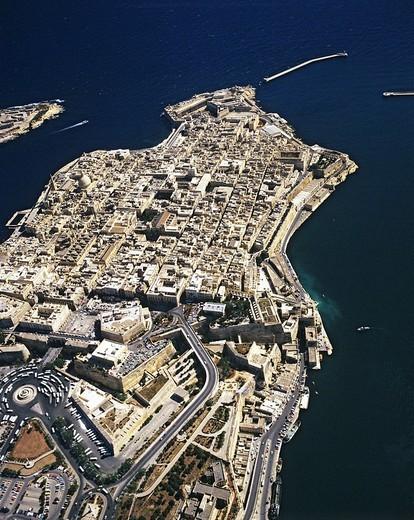 Valletta, aerial view, historic centre, Mediterranean, Malta : Stock Photo