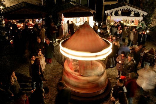 Children´s carousel, Christmas market, Muehldorf am Inn, Upper Bavaria, Bavaria, Germany, Europe : Stock Photo