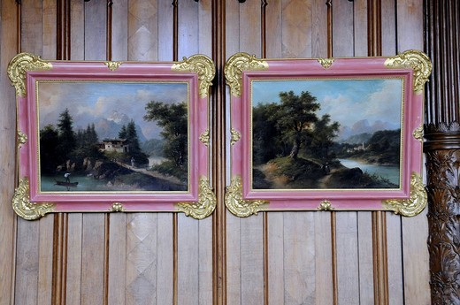 Landscape painting in the Granitz Hunting Lodge, Ruegen Island, Baltic Sea, Mecklenburg_Western Pomerania, Germany, Europe : Stock Photo