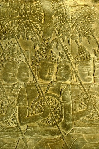 Stock Photo: 1848-195873 Intricate stone relief, warriors with spears and shields in front of trees, Angkor Wat Temple, Siem Reap, Cambodia, Southeast Asia