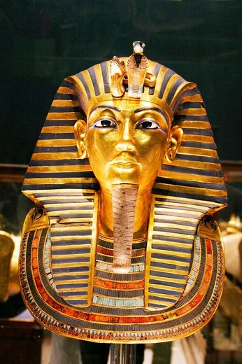 Gold death mask of Pharaoh Tutankhamun, Egypt, Africa : Stock Photo