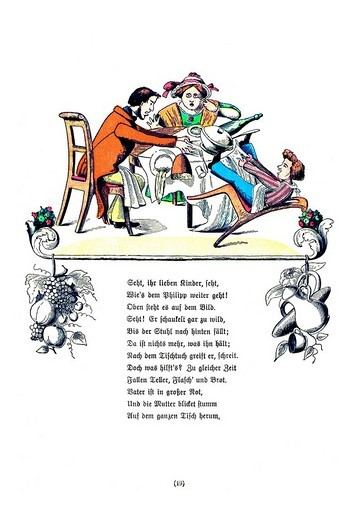Stock Photo: 1848-196022 Book illustration, Die Geschichte vom Zappel_Philipp, The Story of Fidgety Philip, Der Struwwelpeter, Shaggy Peter, Dr. Heinrich Hoffmann, 1876