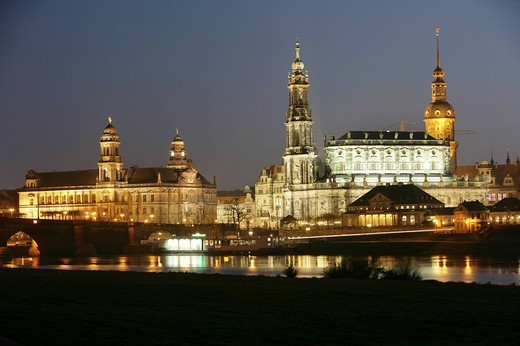 DEU, Germany, Dresden: Skyline of baroque old town at the river Elbe : Stock Photo
