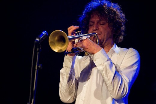 Stock Photo: 1848-196205 Ara Anderson, trumpeter of the US band Rupa & The April Fishes, performing live at Schueuer concert hall, Lucerne, Switzerland, Europe