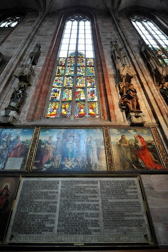 Stock Photo: 1848-196685 Medieval stained glass windows and paintings, St. Sebaldus Church, Nuremberg, Franconia, Bavaria, Germany, Europe